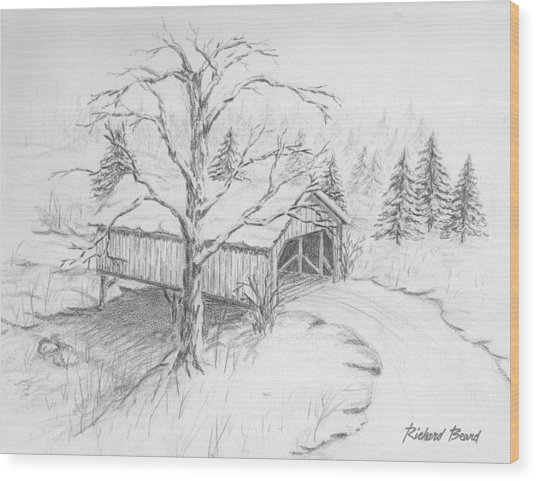 Snow Covered Bridge Wood Print