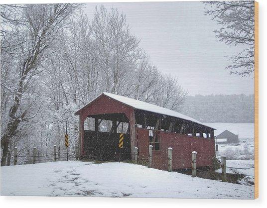 Snow Covered Covered Bridge Wood Print