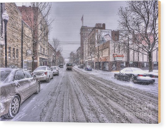 Snow Covered High Street And Cars In Morgantown Wood Print