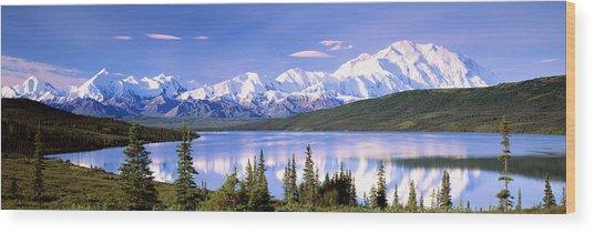 Snow Covered Mountains, Mountain Range Wood Print