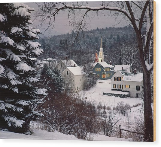 Snow Covered New England Winter Evening Wood Print