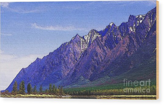 Snow Covered Purple Mountain Peaks Wood Print