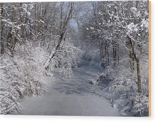 Snow Covered River Wood Print by Thomas Fouch