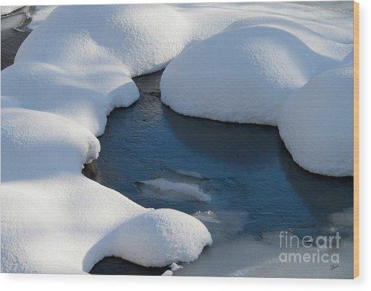 Snow Covered Rocks Wood Print