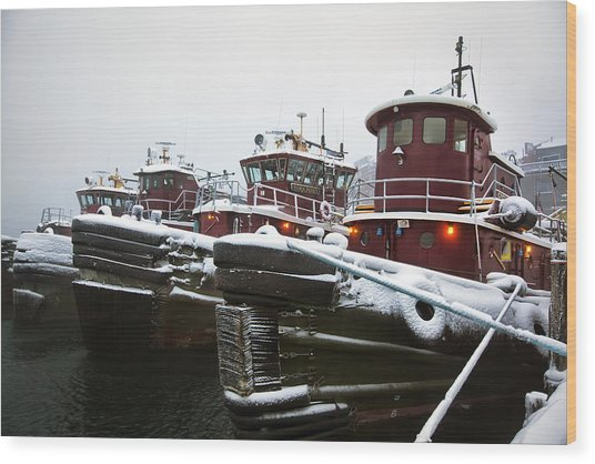 Snow Covered Tugboats Wood Print