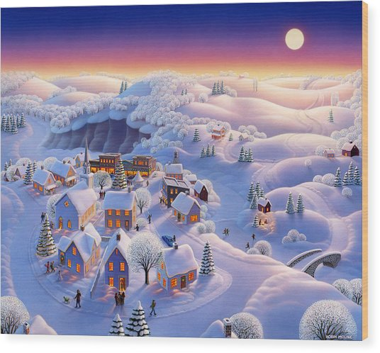 Snow Covered Village Wood Print