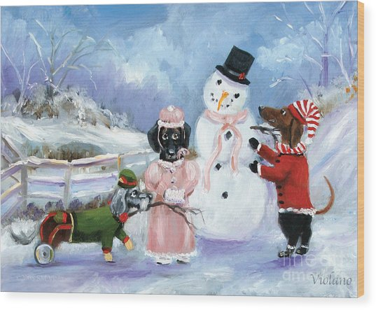 Snow Day For The Dachshund Dogs By Violano Wood Print by Stella Violano
