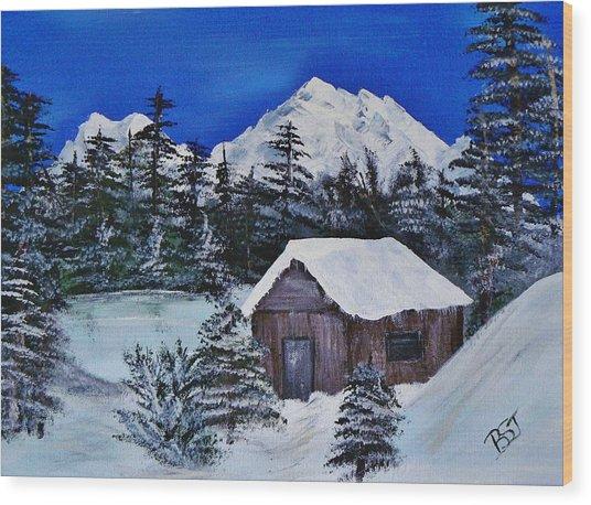 Snow Falling On Cedars Wood Print
