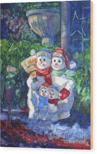 Snow Family Wood Print