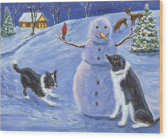Snow Friends Wood Print