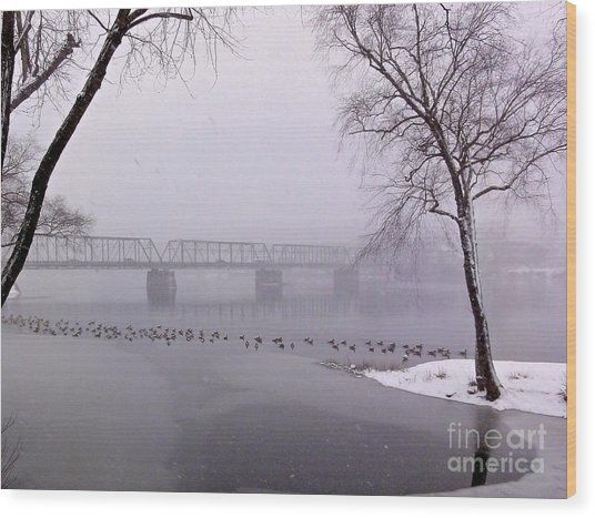 Snow From Lewis Island Bridge Wood Print