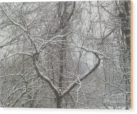 Snow Has A Heart Wood Print