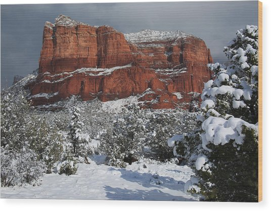 Snow In Sedona Wood Print