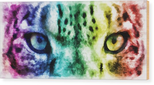 Snow Leopard Eyes 2 Wood Print