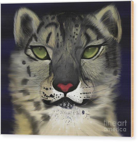 Snow Leopard - The Eyes Have It Wood Print