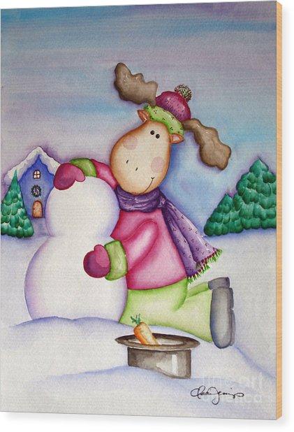 Snow Moose Wood Print