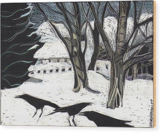 Snow Noise Wood Print