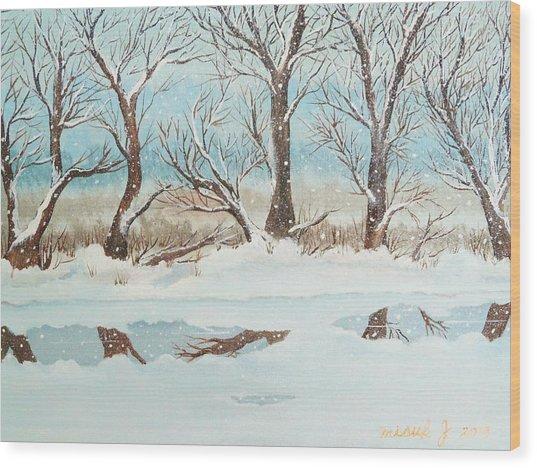 Snow On The Ema River 2 Wood Print