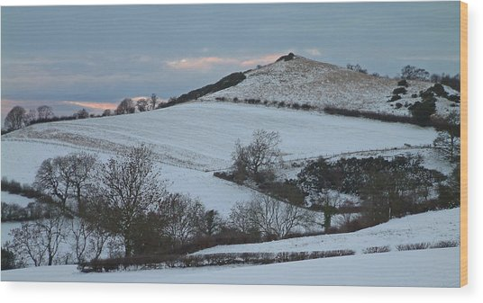 Snow On The Hill Wood Print