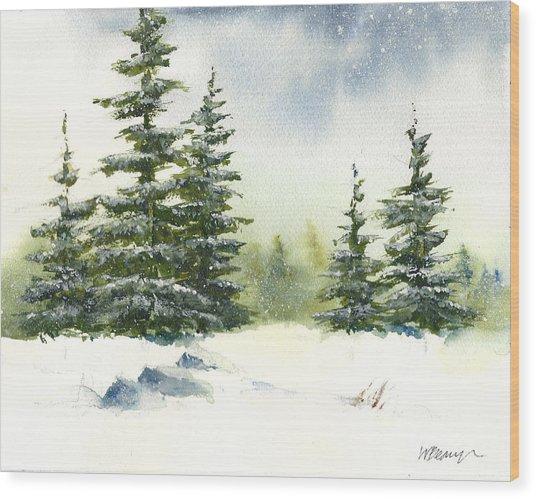 Snow On The Pines  Wood Print