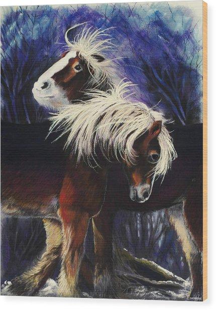 Snow Ponies Wood Print
