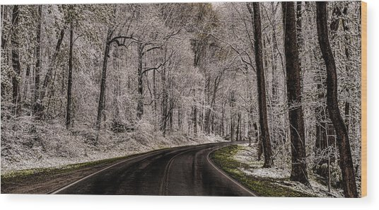 Snow Road Wood Print by Tom  Reed