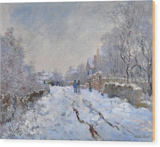 Snow Scene At Argenteuil Wood Print