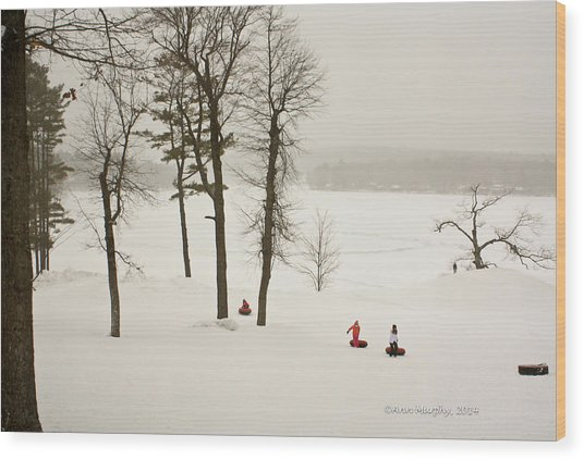 Snow Tubing In The Poconos Wood Print