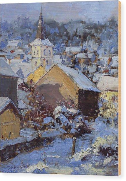 Snow Village Wood Print by James Swanson