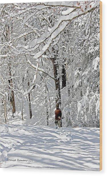 Snow Walking Wood Print