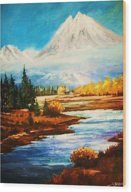 Snow White Peaks Wood Print