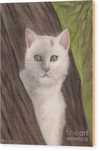 Snow White The Cat Wood Print by Kostas Koutsoukanidis