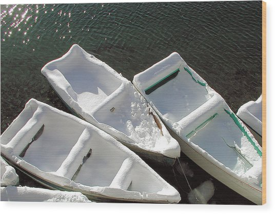 Snowboats Wood Print