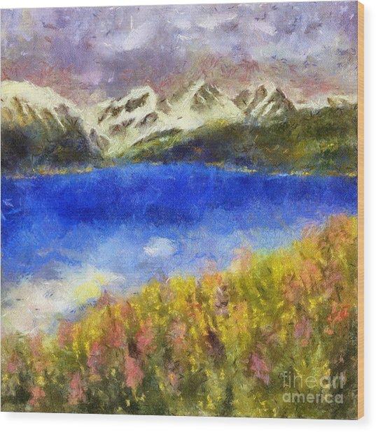 Snowcapped Blue Lake Wood Print