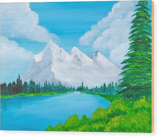 Snowcapped Mountains Wood Print