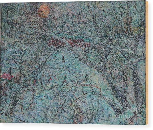 Snowfall In Moscow's Lublino Park Wood Print