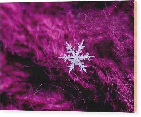 Snowflake On Magenta Wood Print