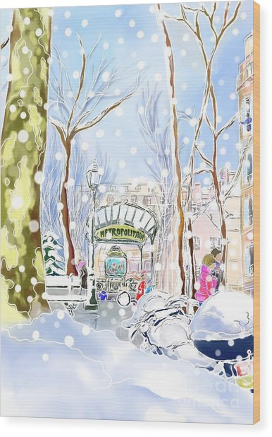 Snowing In Montmartre Wood Print