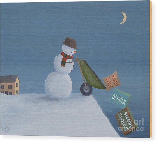 Snowman Survival Strategies Wood Print