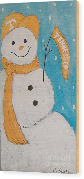 Snowman University Of Tennessee Wood Print