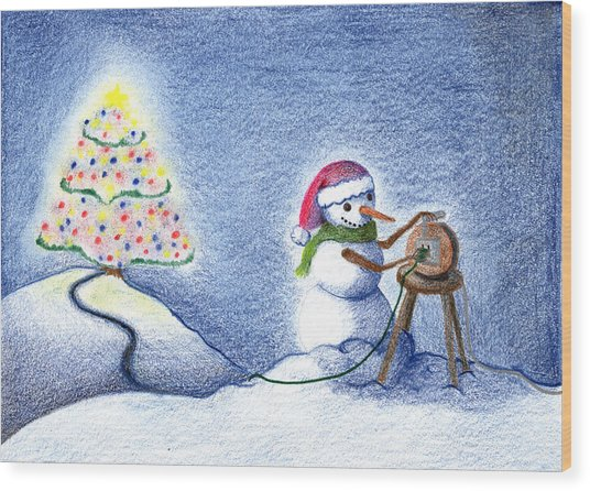 Snowman's X'mas Wood Print