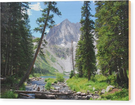 Snowmass Peak Landscape Wood Print