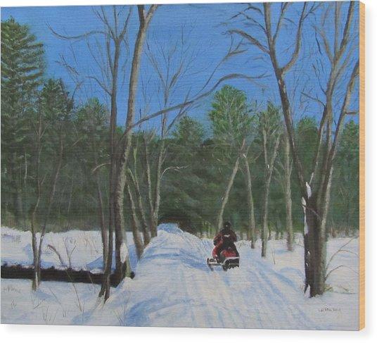 Snowmobile On Trail Wood Print