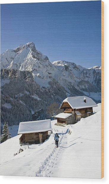 Snowshoeing In Griesalp And Steineberg Wood Print