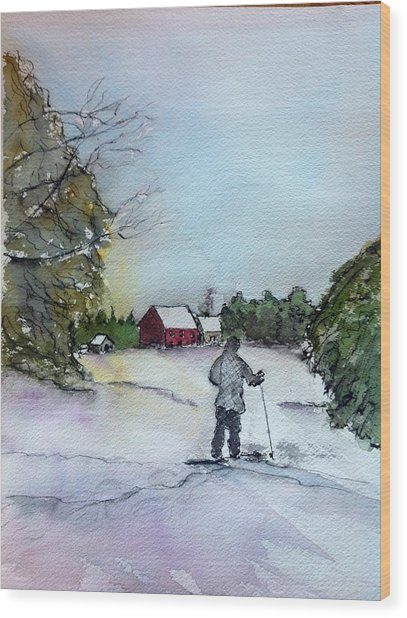 Snowshoeing In Northern Maine Wood Print by Peggy Bosse