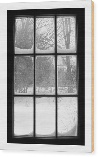 Snowstorm Outside The Windowpanes Wood Print