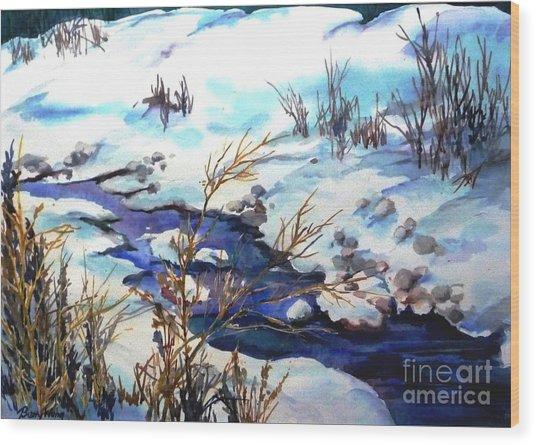Snowy Blue Wood Print