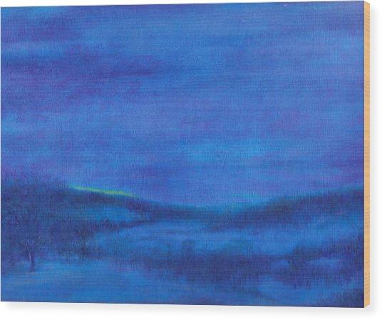 Snowy Blue Nocturne Wood Print