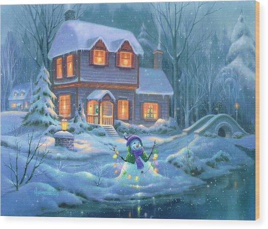 Snowy Bright Night Wood Print