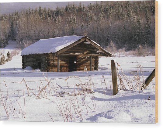 Snowy Cabin Wood Print